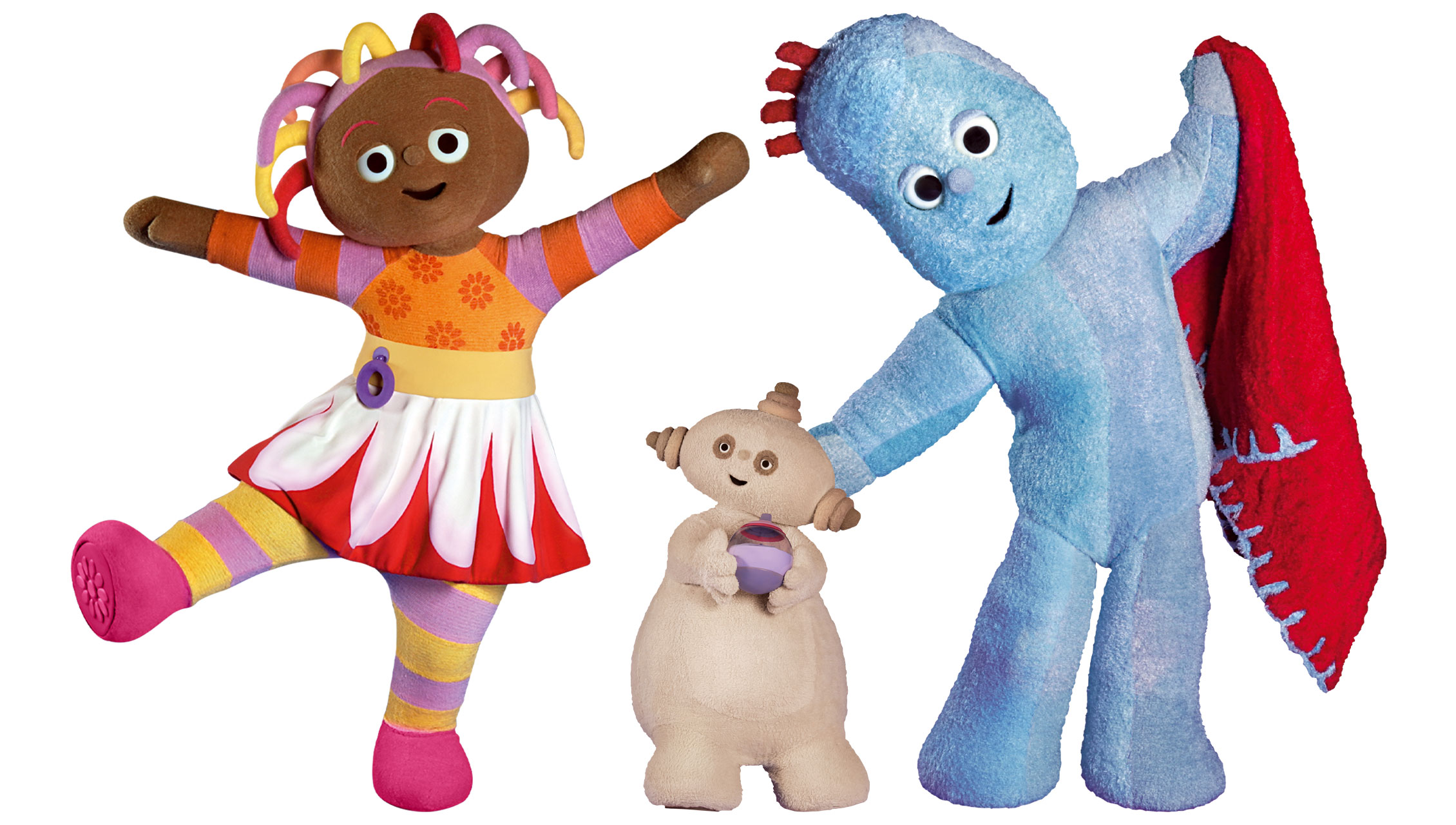 a female in a striped shirt and skirt, a blue creature with blanket and a little beige creature