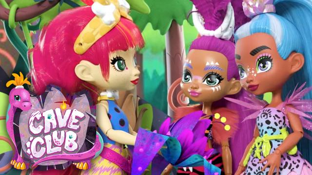 3 brightly haired cave girls of different ethnicities in a forest. Cave Club logo.